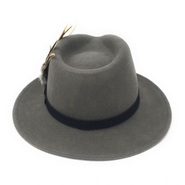 Womens  Wool Grey Lined Fedora Hat with Leather Belt Trim and Country Feather Brooch - Greystone